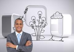 Composite image of charismatic young businessman with arms crossed - stock illustration