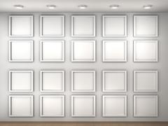 illustration of a empty museum wall with frames - stock illustration