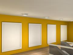 The interior of a gallery with 4 frames Stock Illustration