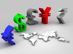 Illustration of trade currencies worldwide Stock Illustration