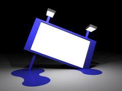 Illustration of a big blue melting billboard Stock Illustration