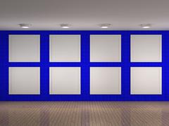 Stock Illustration of illustration of a empty museum with 8 frames