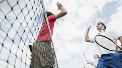 Winning tennis player shows excitement.  Sport in action. Stock Footage