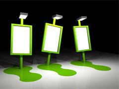 Illustration of  3 melting billboards Stock Illustration
