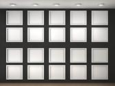 Stock Illustration of illustration of a empty museum wall with frames