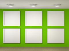 Stock Illustration of illustration of a empty museum with 6 empty frames