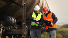 Railroad worker near the tank wagons episode 2 Stock Footage