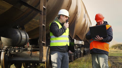 Railroad worker near the tank wagons episode 4 Stock Footage