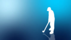Graphic animation sportsmen silhouettes playing ball sports on blue background Stock Footage