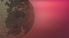 A black 3D wireframe mesh globe rotates against a red background.   Stock Footage