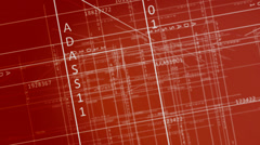 Schematic blueprint fly through numbers and digital maps<br>High quality HD - stock footage