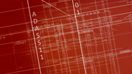 Stock Video Footage of Schematic blueprint fly through numbers and digital maps<br>High quality HD