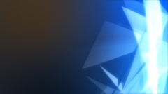 Interersting animated background. Triangular glass shards rotate against a blue Stock Footage