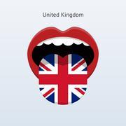United Kingdom language. Abstract human tongue. Stock Illustration