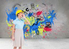 Stock Illustration of Composite image of attractive architect yelling