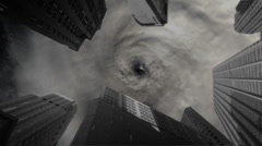 Dramatic animation of a deadly killer storm, poised to strike above the centre Stock Footage