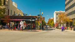 People and Vehicles through the City Center of Asheville, NC Stock Footage