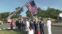 Honor guard march WS Stock Footage