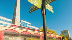 Asheville, NC City Signage Tilting-down to Sightseeing Trolley Tour Stock Footage