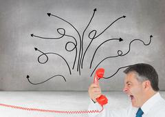 Stock Illustration of Composite image of businessman screaming directly into the handset