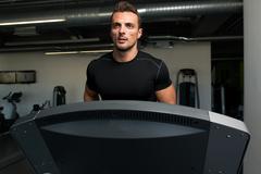 exercising on a treadmill - stock photo