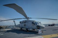 helicopter san diego uss midway deck - stock photo