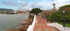 panorama in the old town of panama city - stock photo