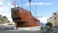 Stock Video Footage of replica of christopher columbus santa maria ship, santa cruz, la palma, spain