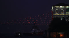 Bosphorus Bridge at Night Stock Footage