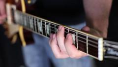 Guitarist Strumming An Electric Guitar Stock Footage