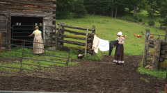 Early American Settlers - Historical Recreation Stock Footage