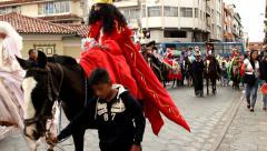 Festive parade in Cuenca Stock Footage