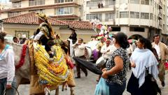 Festive parade in Cuenca - stock footage