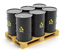Oil barrels on shipping pallet - stock illustration