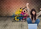 Stock Illustration of Composite image of brunette cheering while using laptop