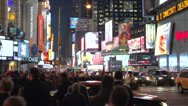 Stock Video Footage of Marvelous nighttime New York City intersection (1 of 5)
