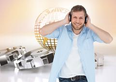 Composite image of trendy model listening to music and looking at camera Stock Illustration