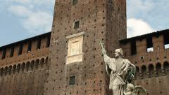 Tower and statue in Sforza Castle in Milan Stock Footage