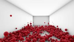 Red balls in white room bouncing - stock footage