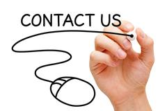 contact us written by hand - stock illustration