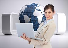 Stock Illustration of Composite image of confident young businesswoman with laptop