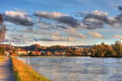 HDR Picture - Aare River and the Bridge Stock Photos