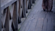 Stock Video Footage of Beautiful young woman posing on wooden bridge