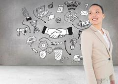Composite image of smiling asian businesswoman - stock illustration