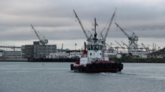 Tugboat In Harbor Stock Footage