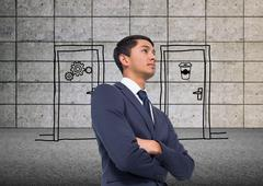 Stock Illustration of Composite image of unsmiling asian businessman with arms crossed
