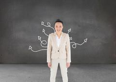 Stock Illustration of Composite image of smiling asian businesswoman