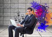 Stock Illustration of Composite image of young businessman sitting on an armchair working with a
