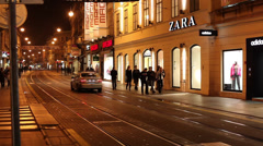 Main Street Ilica night time in Zagreb - stock footage