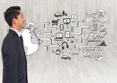 Composite image of smiling asian businessman - stock illustration